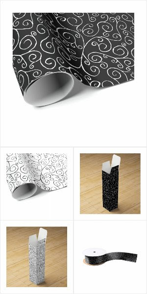 Painted Black/White Curvy Patterns Gift Supplies