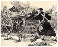 drawing of a Revolutionary War soldier preparing to fire a cannon