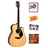 Yamaha FGX720SCA Solid Top Cutaway Acoustic-Electric Guitar Bundle with Instructional DVD, Strings, Pick Card,...