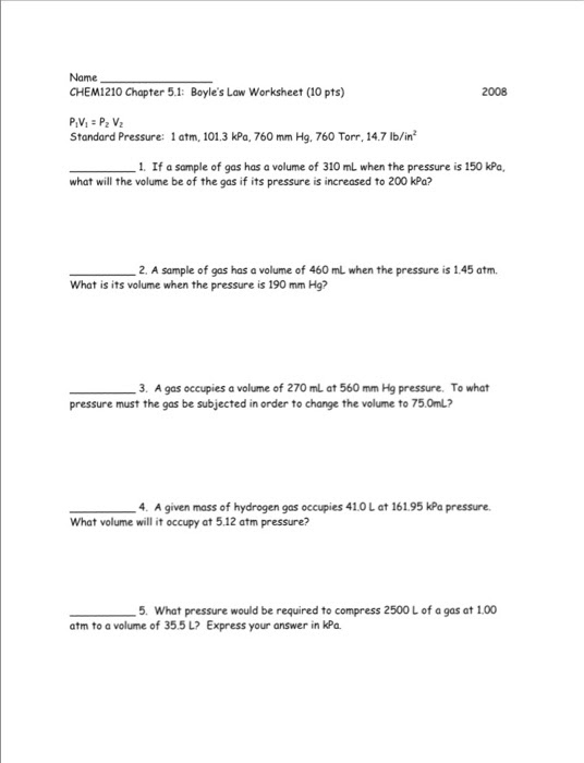 Boyles And Charles Law Worksheet Free Worksheets Library  Download and Print Worksheets  Free