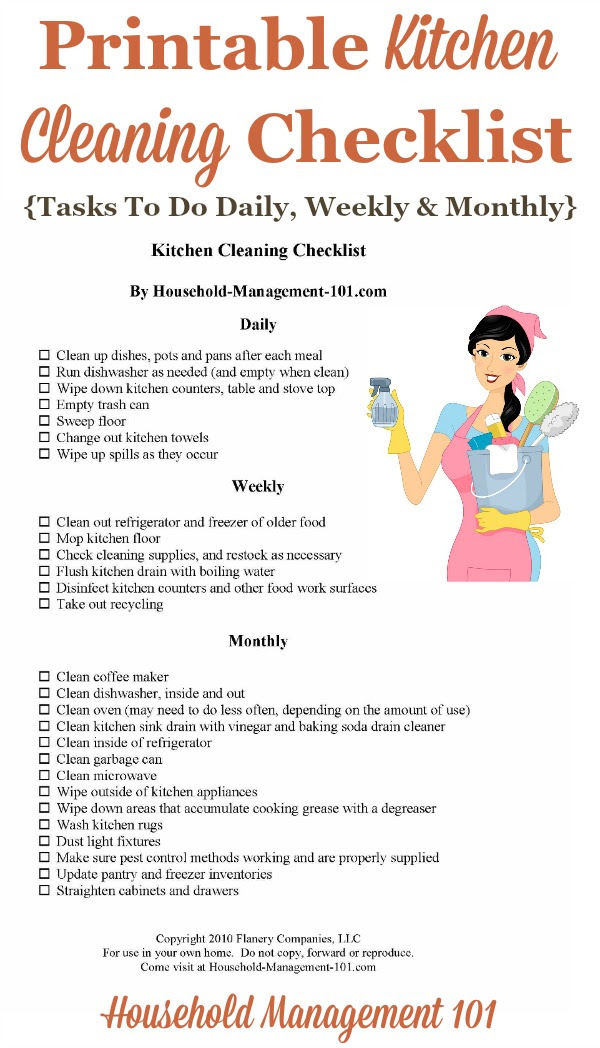 Kitchen Cleaning Checklist - Daily, Weekly And Monthly Chores + ...