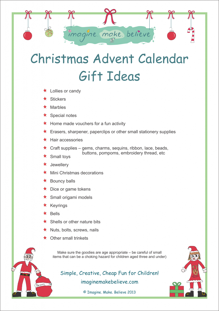 Christmas Advent Calendar Gift Ideas Imagine Make Believe
