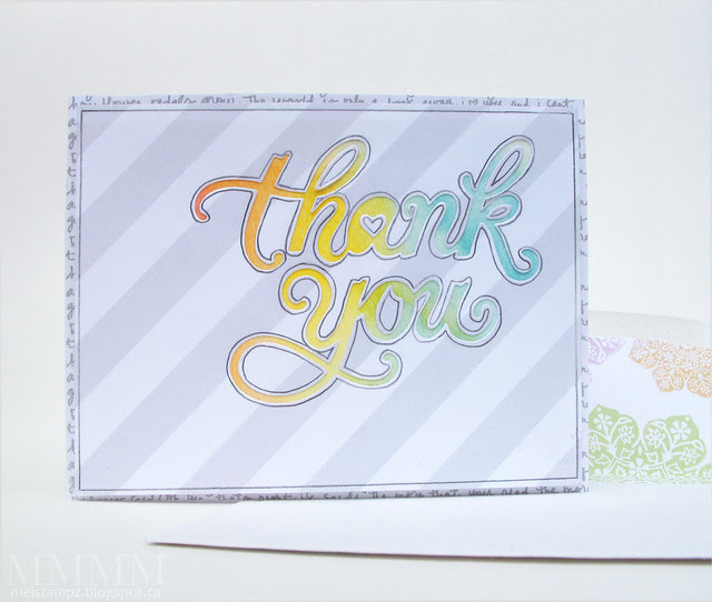 Hero Arts 'Thank You' die - traced doodling card