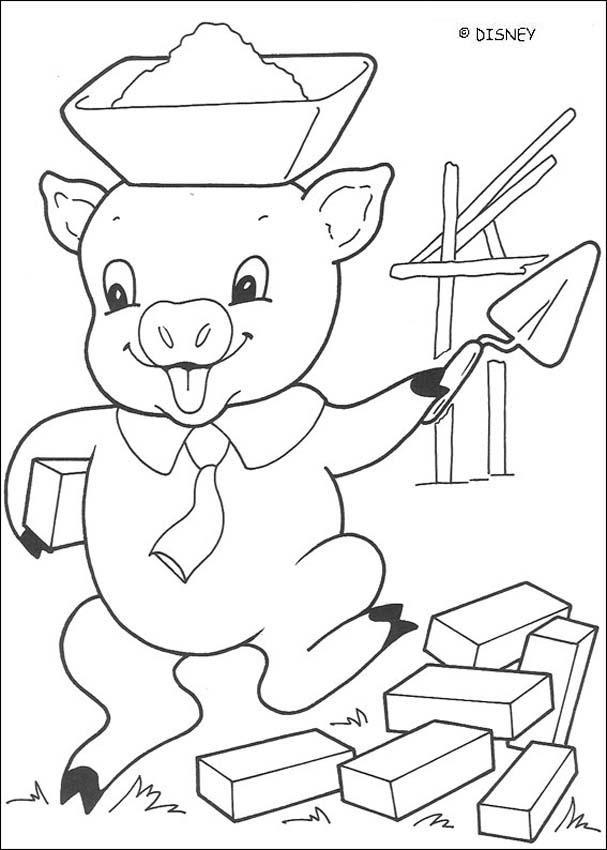 Dibujos Para Colorear Lobo Soplando En La Casa De Madera Es