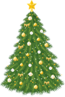Large Transparent Christmas Tree with Gold and White Ornaments