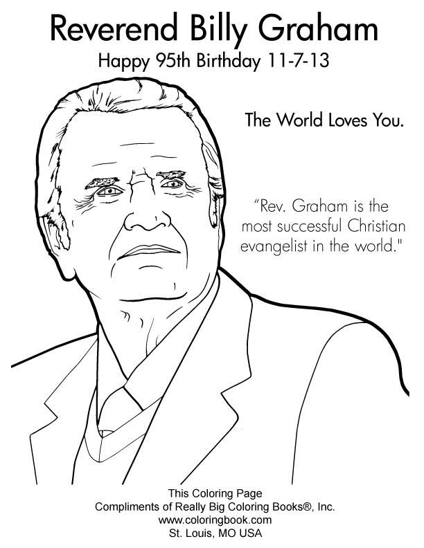 Billy Graham 95th Birthday 2013 Complimentary Coloring ...