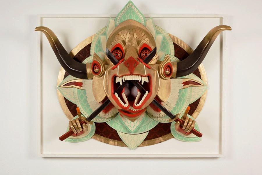 ajfossik bois tableau sculptre 05 900x600 Les monstres en relief dAJ Fosik  art