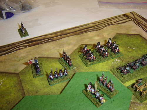 French lancers annihilated by Austrian battery, and isolated French infantry form square to await relief