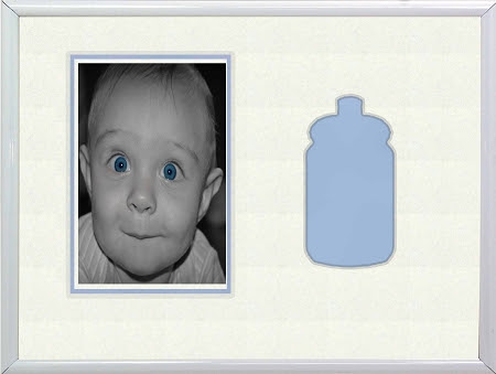 Childrens Blue Baby Bottle Infant Boy 8x10 Photo Frame For 4x6 Photo
