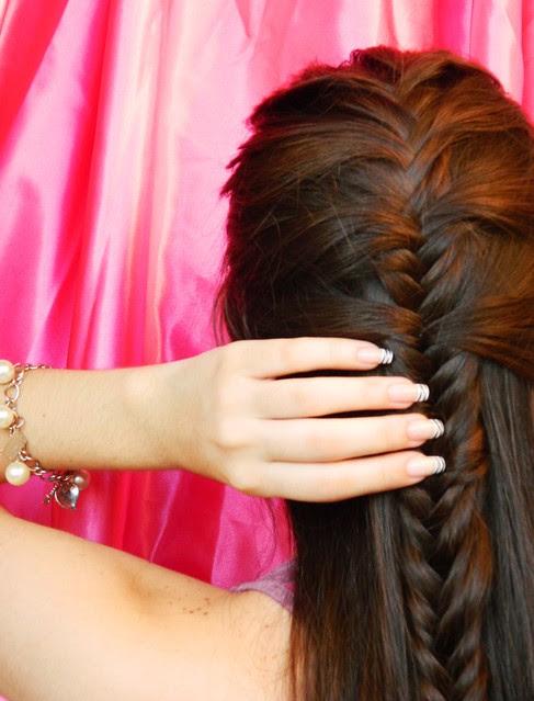 juliana leite penteado de princesa pink trança embutida espinha de peixe10