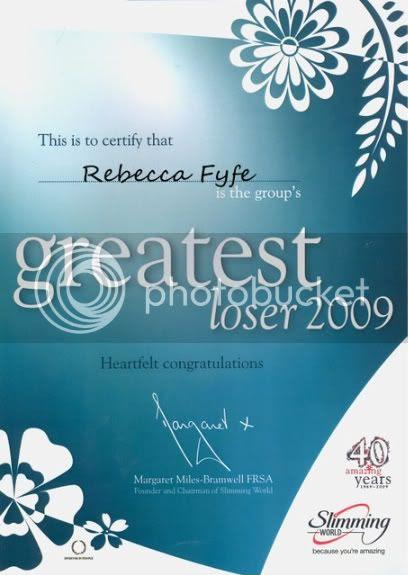 SW Greatest Loser 2009 Certificate