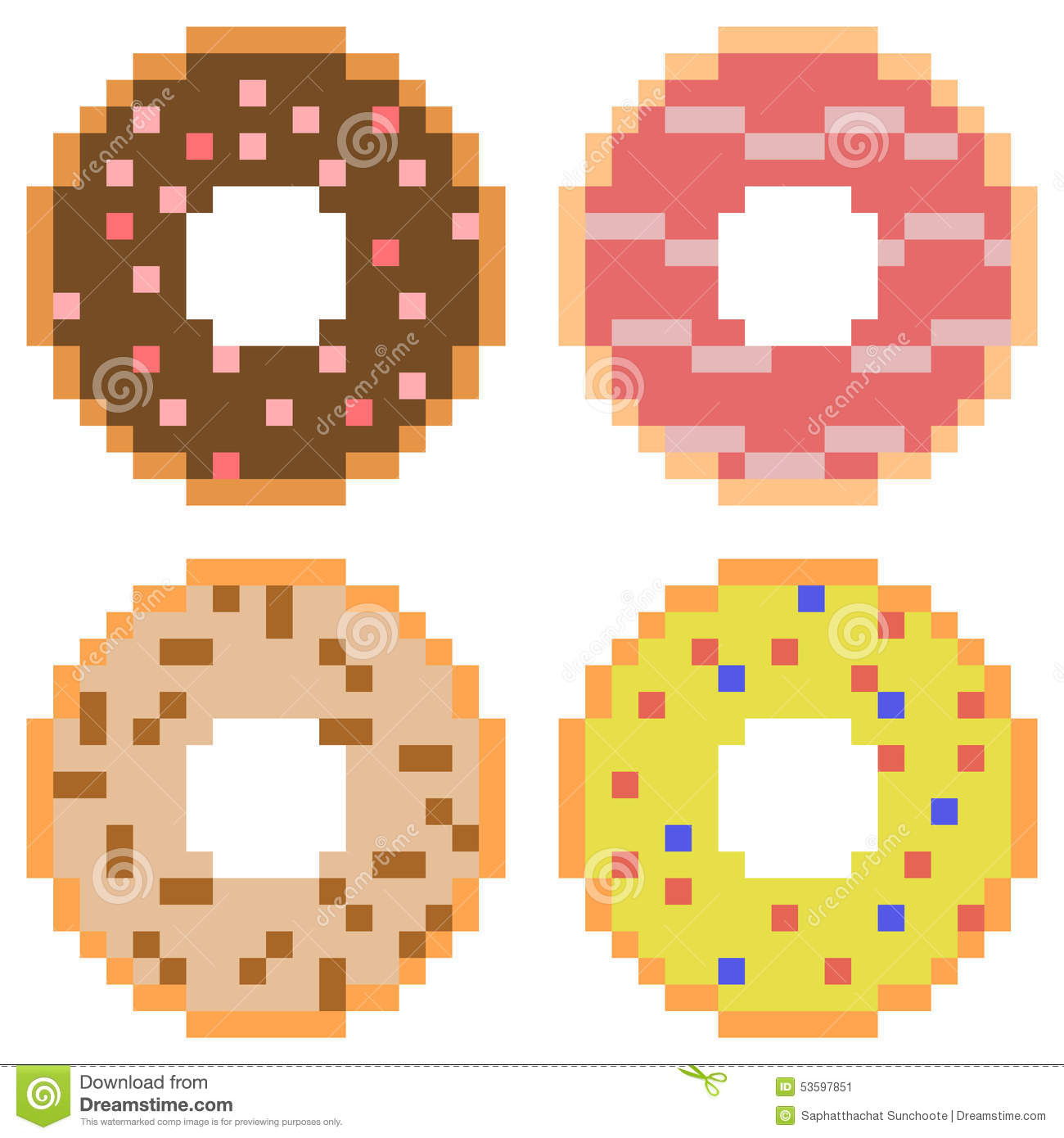 Illustration Pixel Art Icon Donut Stock Vector - Image ...