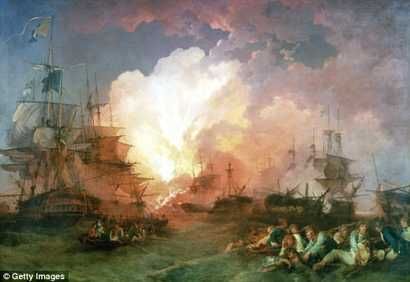 The chape was presented to Nelson to commemorate the British victory over the French fleet at the Battle of the Nile in 1798 (pictured in a painting)