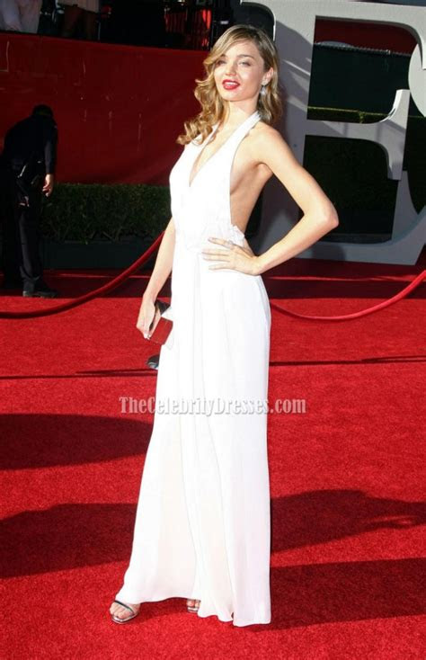 miranda kerr white halter prom dress  espy awards red