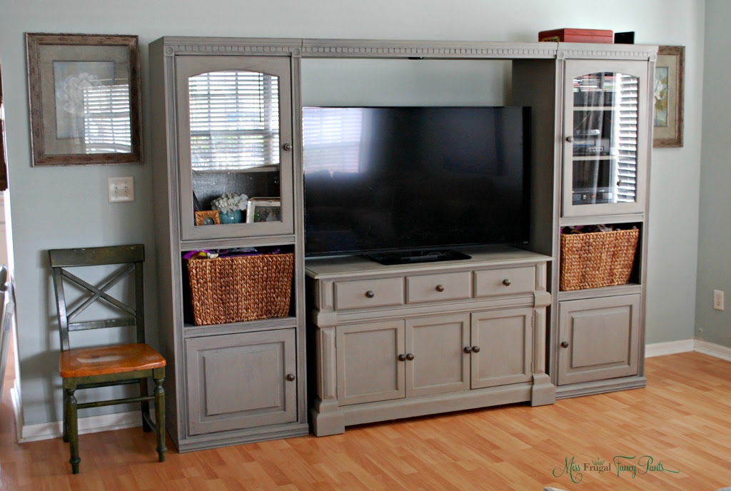 Diy Chalk Paint Entertainment Center Makeover Miss Frugal Fancy Pants