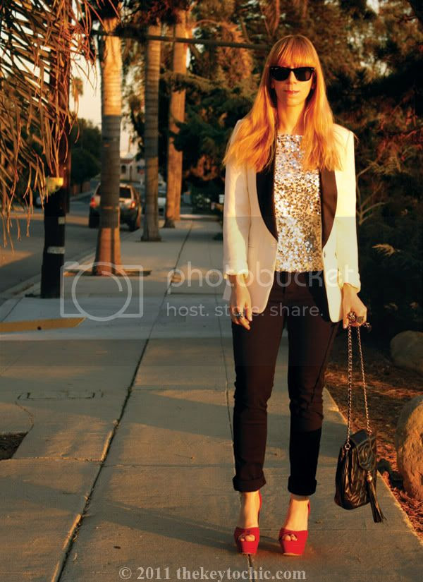 Forever 21 tuxedo blazer, Jennifer Lopez sequin top, Cheap Monday jeans, Los Angeles fashion blog, southern california fashion blogger