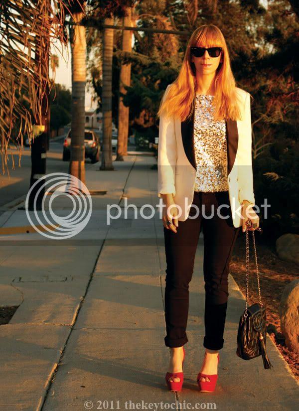 Forever 21 tuxedo blazer, Jennifer Lopez sequin top, Cheap Monday jeans, Los Angeles fashion blog, southern california fashion blogger