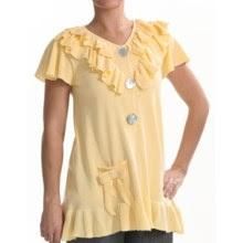 Z Ruffled Baby Doll Cardigan Shirt - Short Sleeve (For Women) in Lemon Chiffon - Closeouts