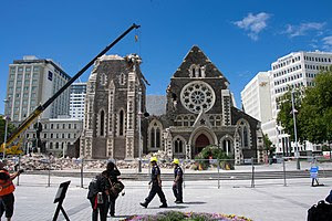 ChristChurch Cathedral showing the effects of ...
