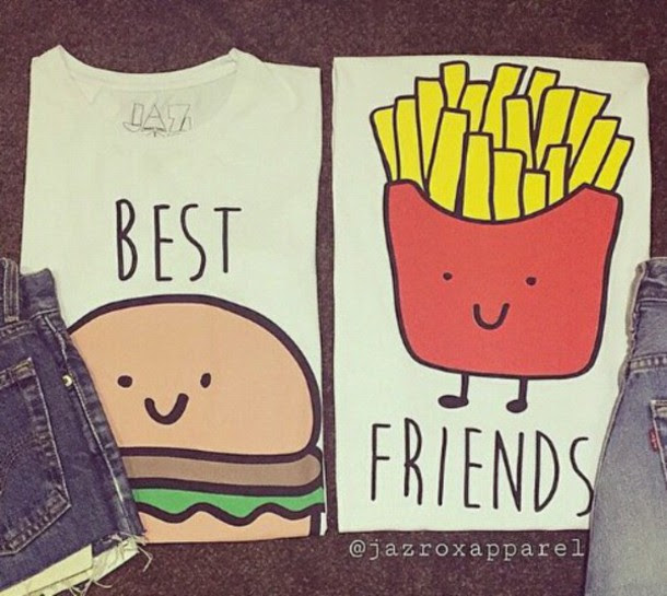 Shirt Clothes T Shirt Best Friends Top Chips Hamburger Cute