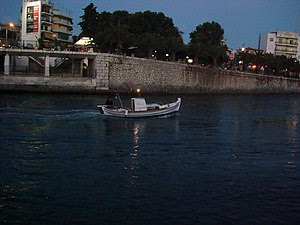 English: A small fishing boat in Chalkida, Gre...