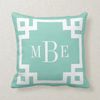 Aqua and White Greek Key Monogram Pillows