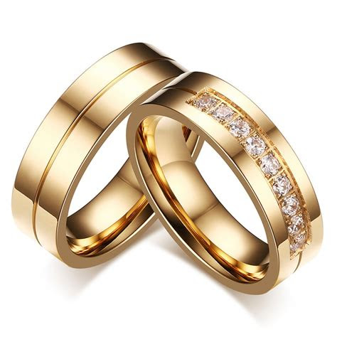 aaa cubic zirconia couple ring gold color ring  women