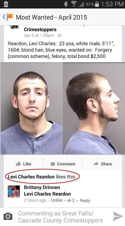 Criminoso curte a própria foto de procurado no Facebook e é preso