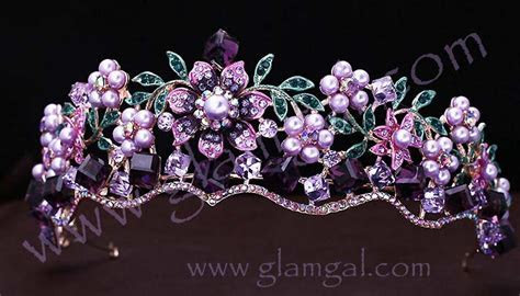 Beautiful gold bridal tiara in lilac and purple with
