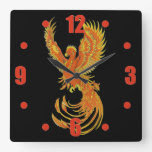 Phoenix Rising Square Wallclocks