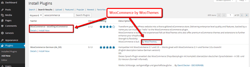 Install the WooCommerce Plugin by WooThemes