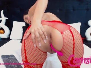 CAMSTER - Jenna Silverstone - Asian Hottie in Red Stockings Slides Two Toys in Her Creamy Pussy