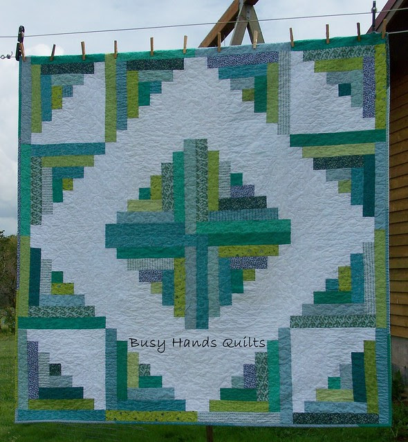 Calm Serenity Log Cabin Lap Quilt