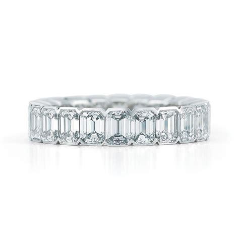 Emerald Bezel Set Eternity Platinum Diamond Wedding Ring