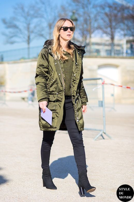 Le Fashion Blog Jennifer Neyt Paris Fashion Week Street Style Army Green Parka Black Skinny Jeans Heeled Suede Ankle Boots Via Style Du Monde