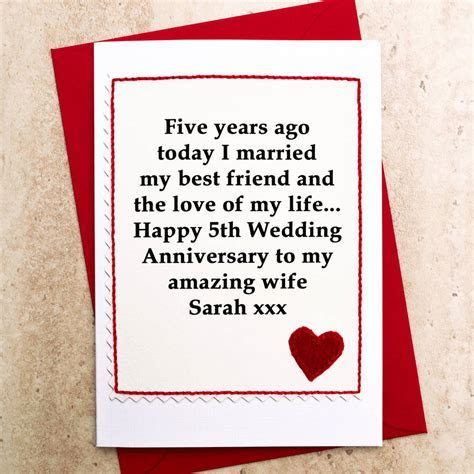 personalised 5th wedding anniversary card by jenny arnott
