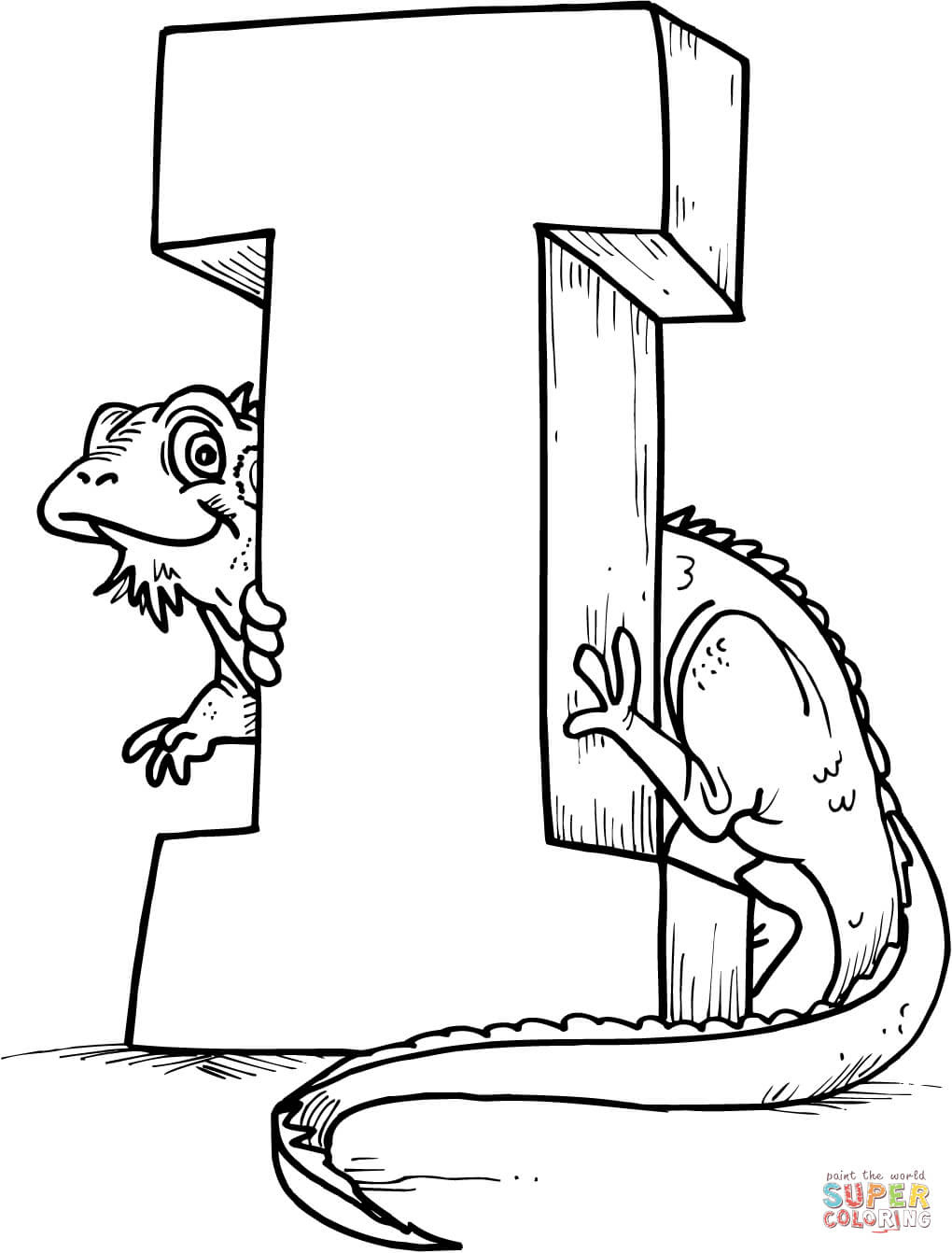 Letter I is for Iguana coloring page | Free Printable ...