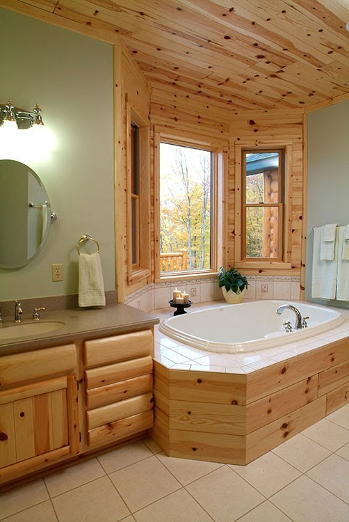fairview home Knotty pine master bathroom