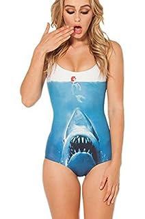 Ensasa Women's Fashion Ariel & Shark Printed One Piece Swimwear,Swimsuit