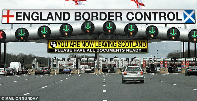 Passport please: Our artists' impression of a road border between England and Scotland post-independence