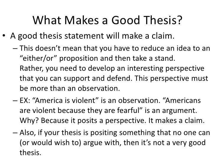 what does a good thesis statement contain