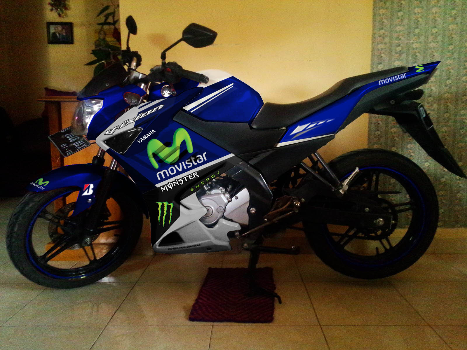 Modif Striping Yamaha New Vixion Half Fairing Movistar Yamaha