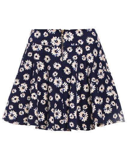 Daisy Print Zipper Skirt pictures