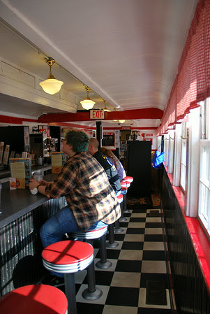 Interior of the Red Arrow Diner at 63 Union Square in Milford, New Hampshire.