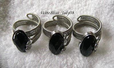 3 wire wrapped adjustable black onyx rings