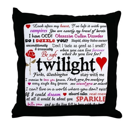 Twilight Quotes Throw Pillow by designdivagifts