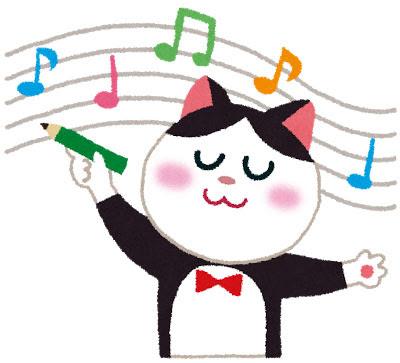 無料素材 五線譜に鉛筆で音符を書く白黒猫の音楽家を描いた可愛いイラスト