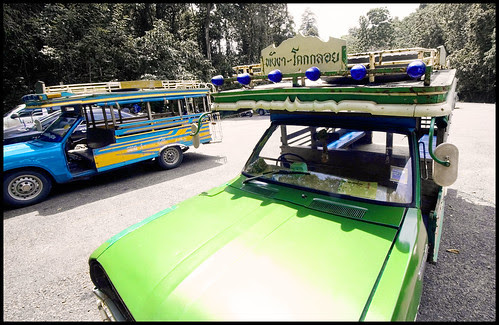Local Songtaew buses at Sa Nang Manora forest park, Phang Nga