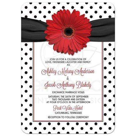 Red Daisy Polka Dot Wedding Invitation   Retro Red Black White