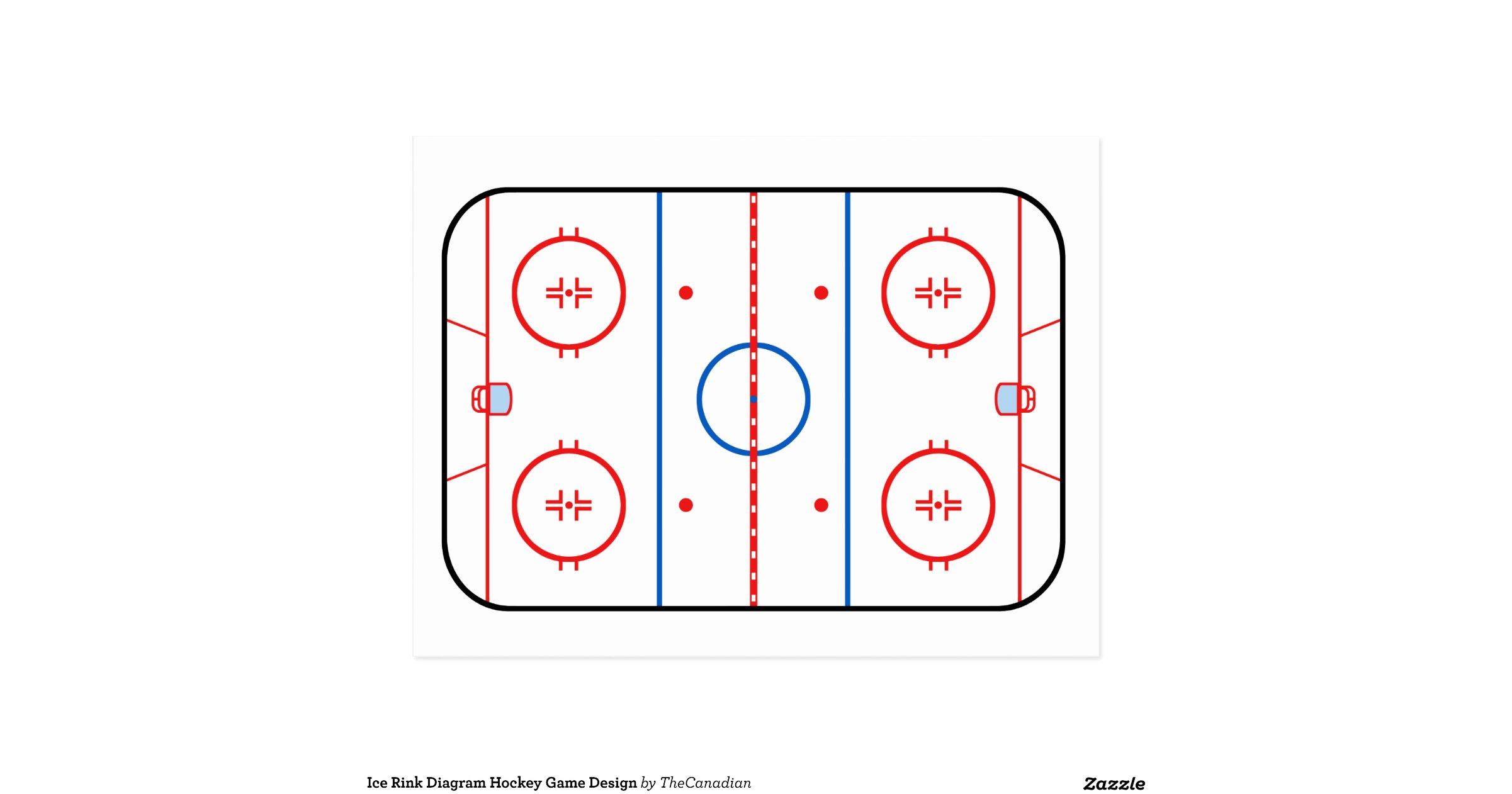 Ice Rink Diagram Hockey Game Companion Postcard   Zazzle